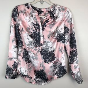 Talbots Petites pink floral popover blouse top